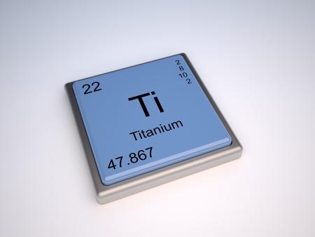 Elemento químico de titanio de la tabla periódica con símbolo de Ti Foto de archivo