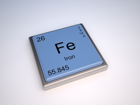 hierro: Elemento químico de hierro de la tabla periódica con el símbolo de la Fe