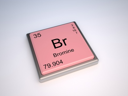 neutrons: Bromine chemical element of the periodic table with symbol Br Stock Photo