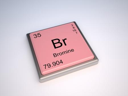 protons: Elemento de la tabla peri�dica con s�mbolo Br bromo Foto de archivo