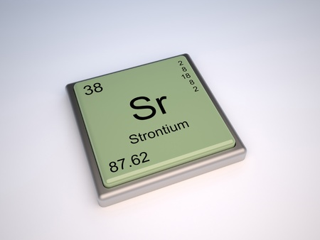 strontium: Strontium chemical element of the periodic table with symbol Sr Stock Photo