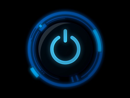 Power button on blue light Stock Photo - 9256913
