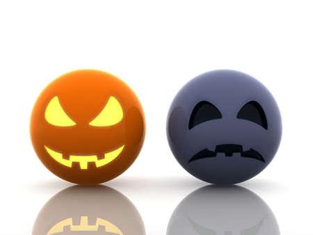 Halloween, happy and sad pumpkins photo