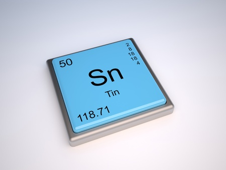 Tin chemical element of the periodic table with symbol Sn Stock Photo - 9257101