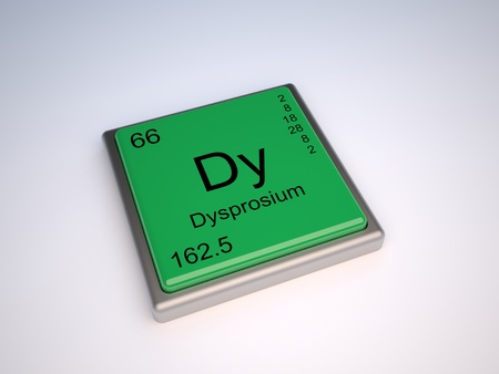 atomic symbol: Dysprosium chemical element of the periodic table with symbol Dy Stock Photo