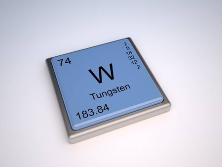 periodic: Tungsten chemical element of the periodic table with symbol W