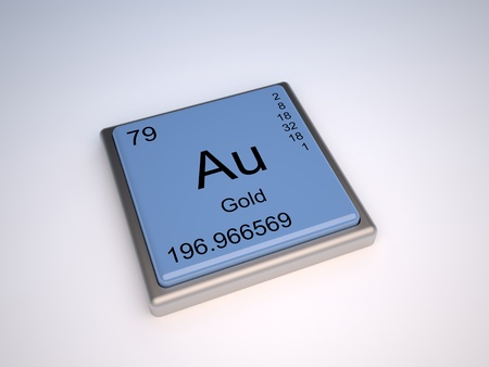 the periodic table: Gold chemical element of the periodic table with symbol Au