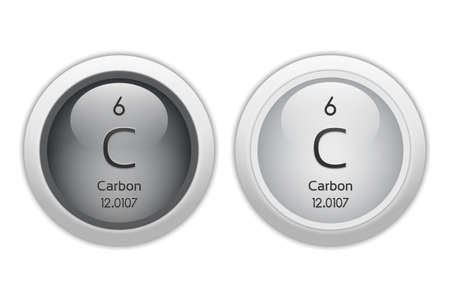 isotopes: Carbon - two glossy web buttons