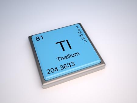 symbole chimique: Élément chimique du thallium du tableau périodique avec le symbole de Tl