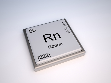 the periodic table: Radon chemical element of the periodic table with symbol Rn Stock Photo