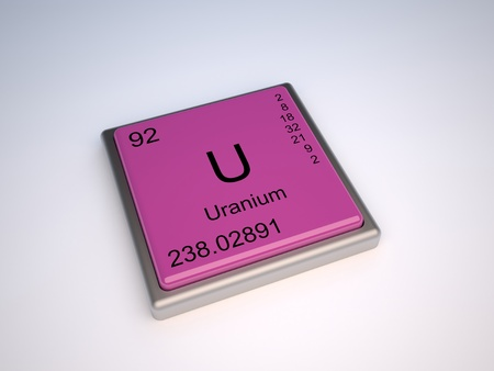 the periodic table: Uranium chemical element of the periodic table with symbol U Stock Photo