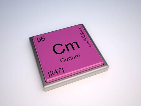 symbole chimique: Curium élément chimique du tableau périodique avec Cm symbole Banque d'images