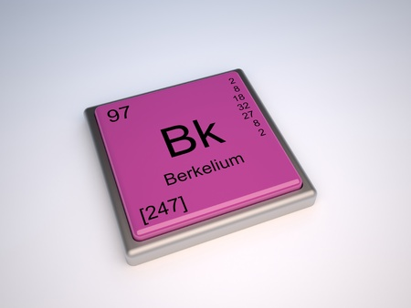 chemical element: Berkelium chemical element of the periodic table with symbol Bk Stock Photo