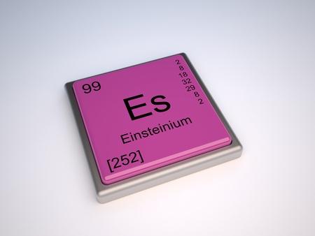symbole chimique: Élément chimique einsteinium de la classification périodique avec le symbole Es Banque d'images