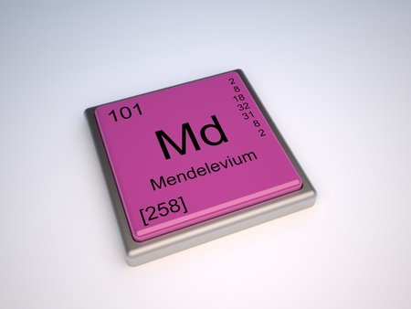 md: Mendelevium chemical element of the periodic table with symbol Md Stock Photo