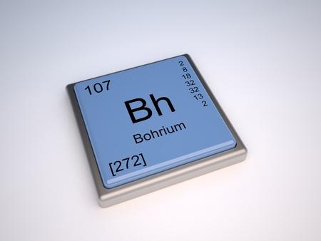 symbole chimique: Élément chimique bohrium de la classification périodique avec le symbole de Bh
