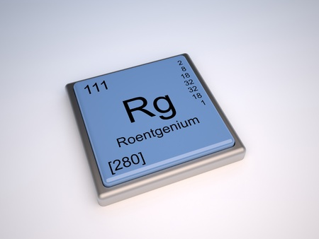 mendeleev: Roentgenium chemical element of the periodic table with symbol Rg