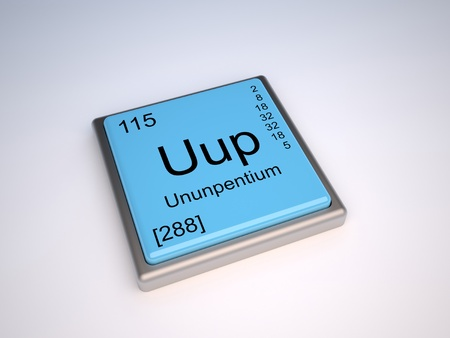 neutrons: Ununpentium chemical element of the periodic table with symbol Uup Stock Photo