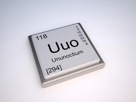 symbole chimique: Ununoctium élément chimique du tableau périodique de symbole Uuo Banque d'images