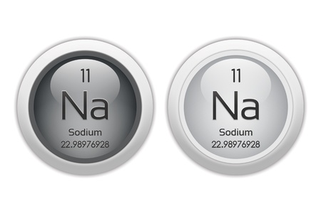 isotopes: Sodium - two glossy web buttons Stock Photo
