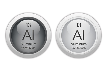 isotopes: Aluminium - two glossy web buttons Stock Photo