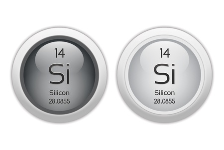 isotopes: Silicon - two glossy web buttons