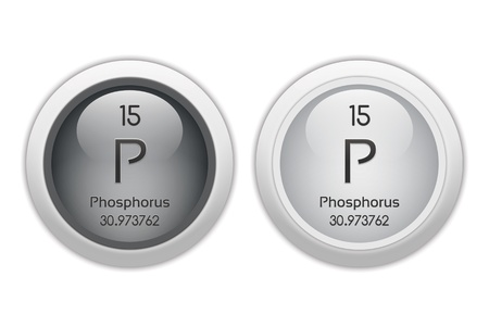 isotopes: Phosphorus - two glossy web buttons