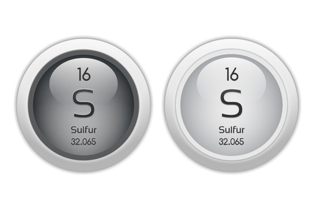 isotopes: Sulfur - two glossy web buttons Stock Photo
