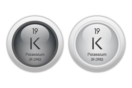 potassium: Potassium - two glossy web buttons