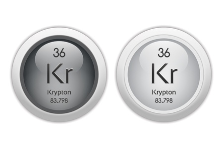 noble gas: Krypton - two glossy web buttons