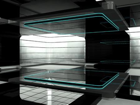 futuristic interior: Futuristic 3D empty room Stock Photo