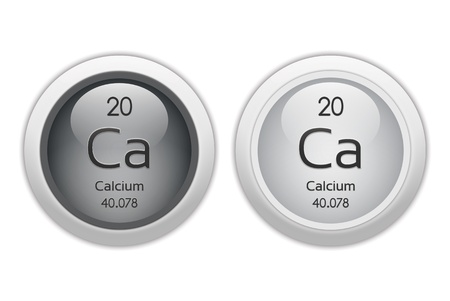 isotopes: Calcium - two glossy web buttons