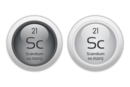 isotopes: Scandium - two glossy web buttons Stock Photo