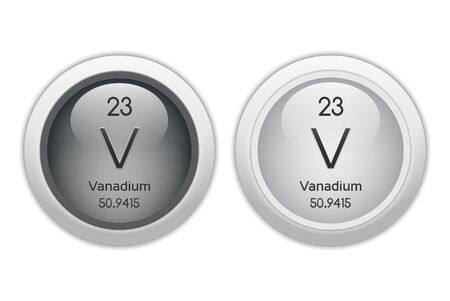 isotopes: Vanadium - two glossy web buttons Stock Photo