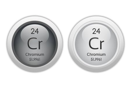 isotopes: Chromium - two glossy web buttons Stock Photo