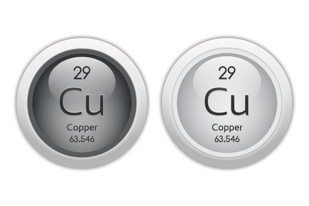 mendeleev: Copper - two glossy web buttons