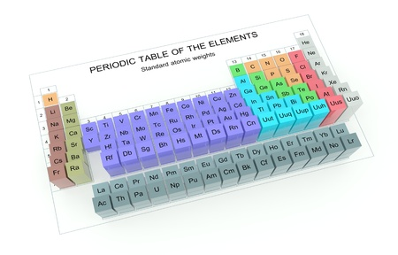 3d Periodic Table Of The Elements Standard Atomic Weights Stock