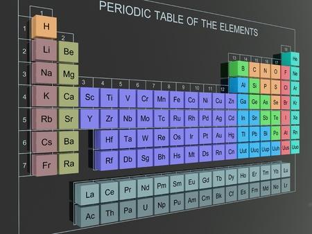 qu�mica: 3D tabla peri�dica de elementos - tabla de Mendel�yev en pared Foto de archivo