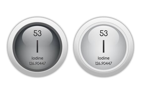 periodic element: Iodine - two glossy web buttons Stock Photo