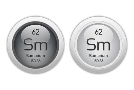 actinoids: Samarium - two glossy web buttons Stock Photo
