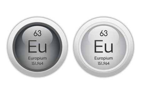 periodic table of the elements: Europium - two glossy web buttons