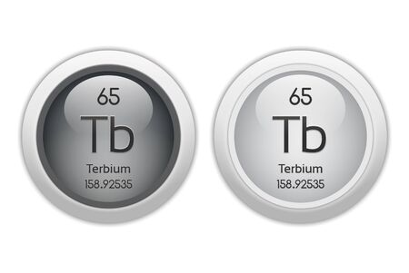 mendeleev: Terbium - two glossy web buttons