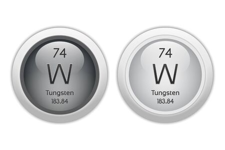 Tungsten (Wolfram) - two glossy web buttons Stock Photo
