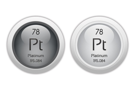 platinum: Platinum - two glossy web buttons Stock Photo