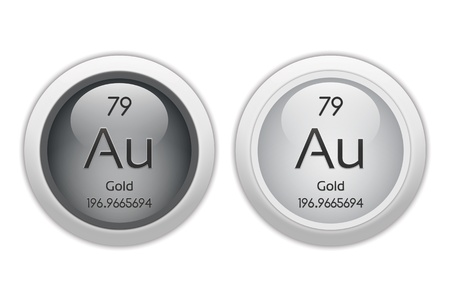 atomic number: Gold - two glossy web buttons