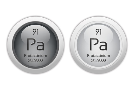 Protactinium - two glossy web buttons photo