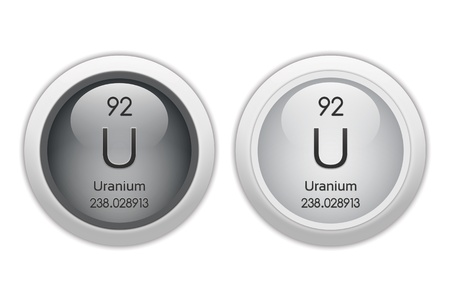 periodic element: Uranium - two glossy web buttons