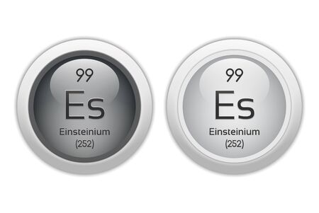 periodic element: Einsteinium - two glossy web buttons Stock Photo