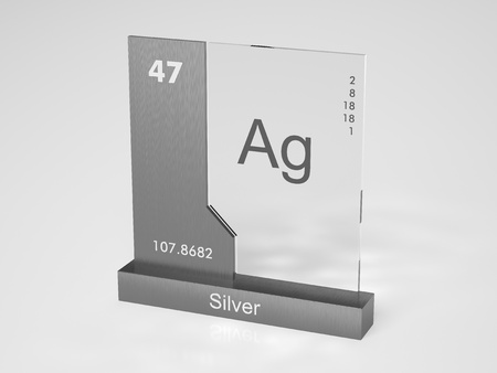 solid silver: Silver - symbol Ag - chemical element of the periodic table Stock Photo