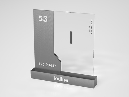 iodine: Iodine - symbol I - chemical element of the periodic table Stock Photo